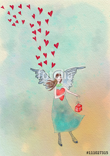 Angel with hearts and gift. Greeting card. Watercolor illustrati